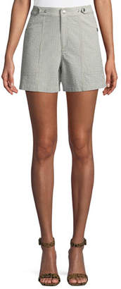 Rag & Bone Steele Seersucker High-Rise Shorts