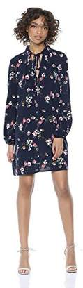 Wild Meadow Women's Long Sleeve Rayon Floral Print Peasant Dress with Collar and Neck Tie XS