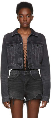 Alexander Wang Grey Shrunken Cropped Denim Jacket