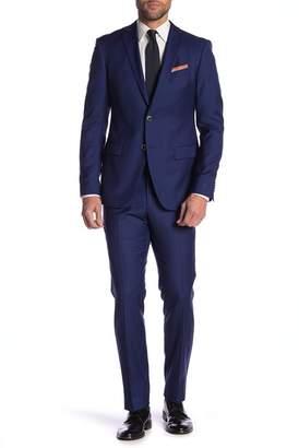 John Varvatos Bedford Cobalt Solid Two Button Notch Lapel Wool Suit