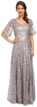 Donna Morgan - Sequin Gown with Sleeve Women's Dress $300 thestylecure.com