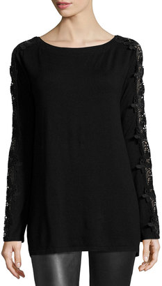 Philosophy Lace-Sleeve Sweater, Black $69 thestylecure.com