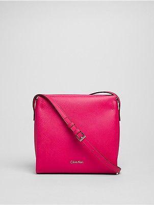 Calvin KleinCalvin Klein Womens Saffiano Crossbody Bag Bright Rose
