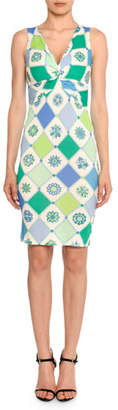 Emilio Pucci Twist-Front Sleeveless 1960's Wallpaper-Print Sheath Dress
