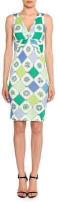 Emilio Pucci Twist-Front Sleeveless 1960's Wallpaper-Print Sheath Dress