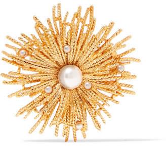 Oscar de la Renta Gold-tone Faux Pearl Brooch - one size