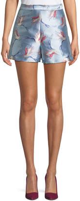 Alice + Olivia Heath High-Waist Bird-Print Satin Shorts