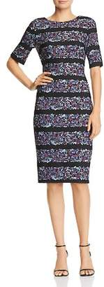 Adrianna Papell Floral-Stripe Crepe Dress
