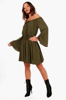 boohoo Flute Sleeve Shirred Waist Skater Dress