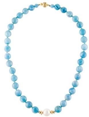 14K Pearl & Aquamarine Bead Strand Necklace