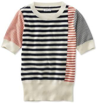 L.L. Bean L.L.Bean Signature Cashmere Sweater, Short-Sleeve Stripe