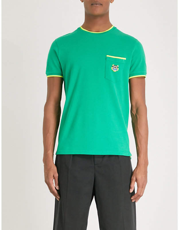 Tiger-embroidered cotton-piqué T-shirt