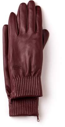 Lacoste Women's Zippered Premium Leather Gloves