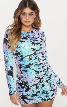 PrettyLittleThing Multi Iridescent Long Sleeve Bodycon Dress
