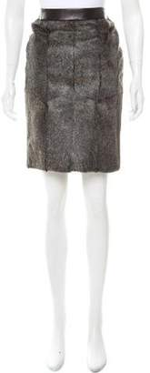 Alexander Wang Fur-Paneled Leather Skirt