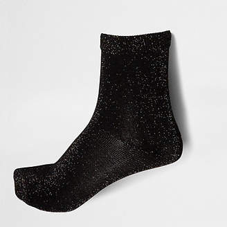 River Island Black metallic ankle socks