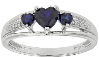JCPenney FINE JEWELRY Lab-Created Sapphire Heart-Shaped 3-Stone Sterling Silver Ring