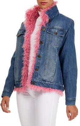 Simonetta Ravizza Denim & Curly Lamb-Shearling Jacket