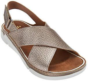 Clarks Artisan Leather Cross Strap Sandals -Tri Alexia
