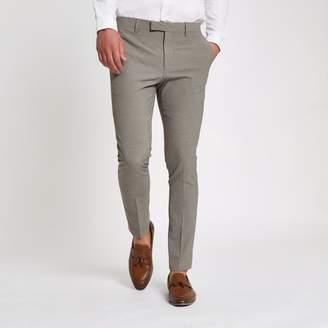 River Island Mens Ecru pupstooth super skinny fit suit trousers