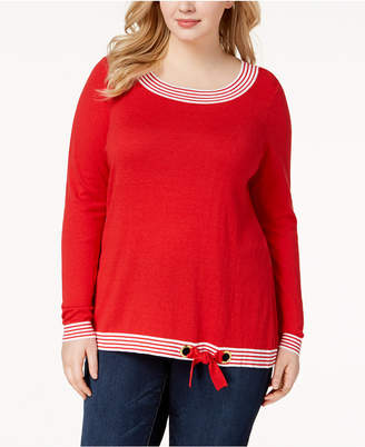 Belldini Plus Size Boat-Neck Side-Tie Sweater