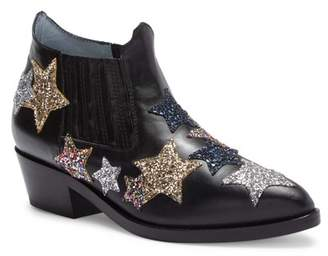 Chiara Ferragni Glitter Patches Leather Ankle Boot