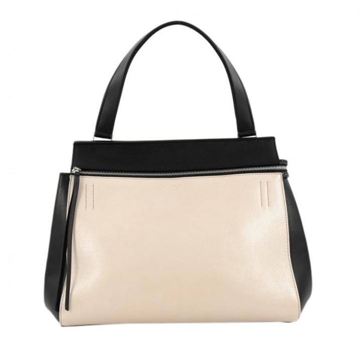 CelineCeline Black and Beige Leather Edge Bag