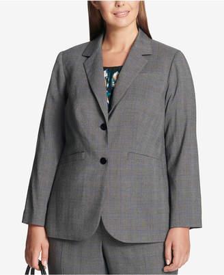 Calvin Klein Plus Size Glen Plaid Two-Button Jacket