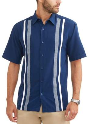 Cafe Luna Men's Short Sleeve Panel Woven Shirt