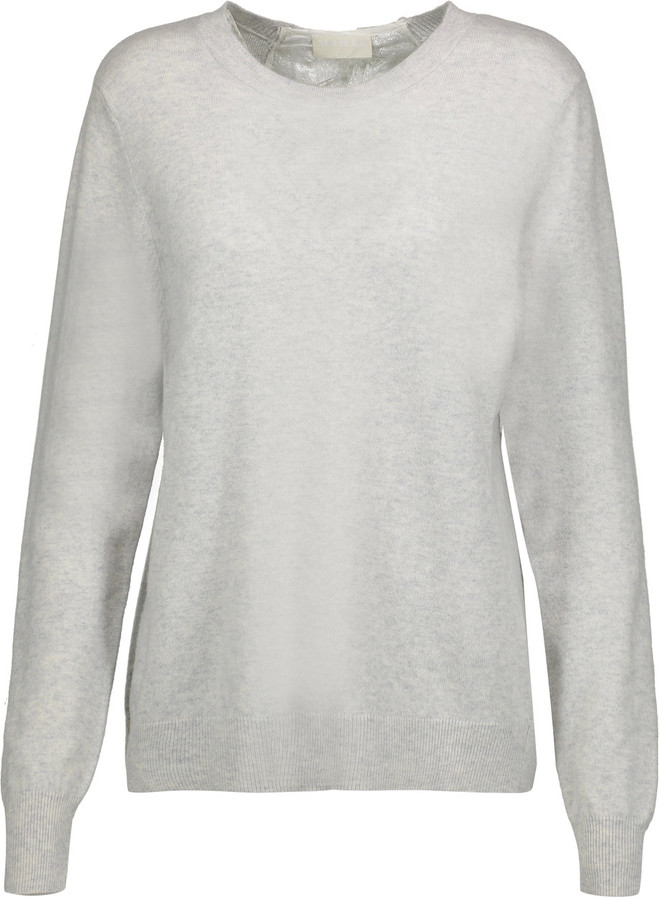 Clu CLU Metallic silk-blend and lace-paneled wool and cashmere-blend sweater