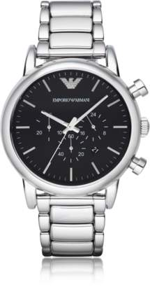 Emporio Armani Silvertone Stainless Steel Men's Watch w/Black Dial
