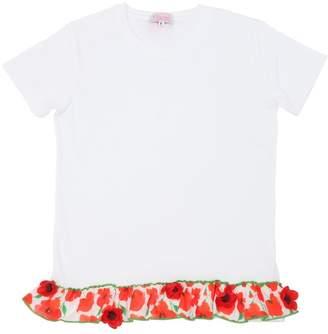 Cotton Jersey T-Shirt W/ Floral Hem