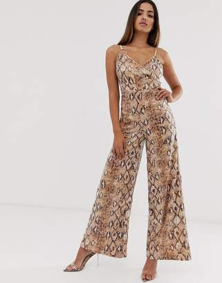 Rare London sequin ring detail jumpsuit in snake print