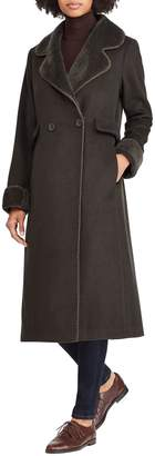 Lauren Ralph Lauren Wool Blend Faux Shearling Trim Coat
