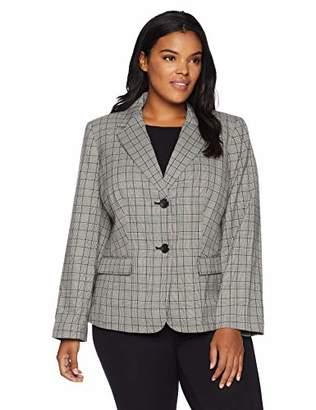 3249bf8d508 Nine West Women s Plus Size 2 Button Notch Collar Plaid Jacket