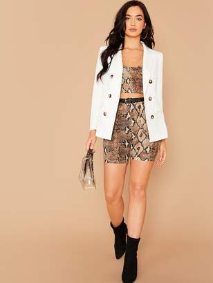 Shein Notched Collar Double Breasted Blazer