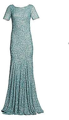 Theia Women's Cowl Back Sequin Trumpet Gown