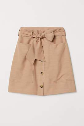 H&M Lyocell-blend Utility Skirt - Beige