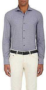 Barneys New York MEN'S CHECKED COTTON FLANNEL SHIRT-PURPLE SIZE XXL