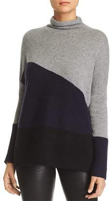 Bloomingdale's C by Rib-Knit Detail Color-Block Cashmere Sweater - 100% Exclusive