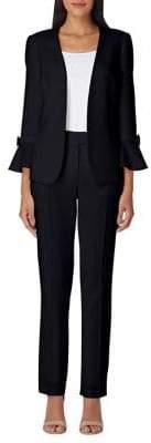 Tahari Arthur S. Levine Crepe Tulip Sleeve Open Collar Jacket and Pants Suit