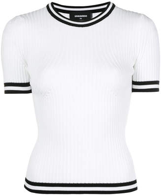 DSQUARED2 track ribbed short sleeve sweater