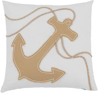 "Shiraleah Beaufort Anchor Pillow- 17"" x 17\"" - Ivory"