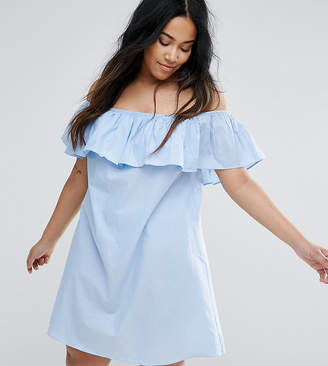 AX Paris Plus Chambray Ruffle Off The Shoulder Dress