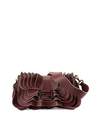 Fendi Baguette Multi-Wave Leather Bag, Bordeaux