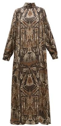 Edward Crutchley Raja Print Long Sleeved Silk Maxi Dress - Womens - Brown Multi