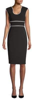 Calvin Klein Contrast-Trim Sheath Dress