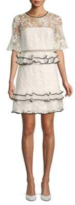 Three floor Florentine Ruffled Lace Popover Dress