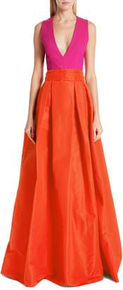Sachin + Babi Savoia Colorblock A-Line Gown