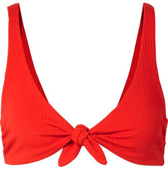 Mara Hoffman Rio Knotted Ribbed Bikini Top - Red